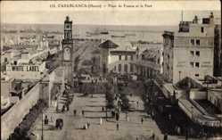 Postcard Casablanca Marokko, Place de France et le Port, White Label