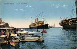 Postcard Port Said Ägypten, The Harbour, Hafenansicht mit Dampfer