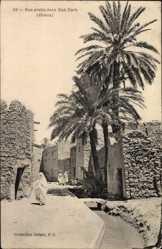 Postcard Biskra Algerien, Rue arabe dans Bab Darb, Kanalpartie
