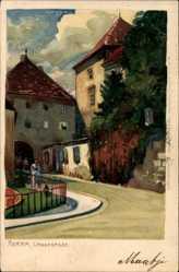 Künstler Litho Agram Zagreb Kroatien, Langegasse, Tor, Straßenpartie