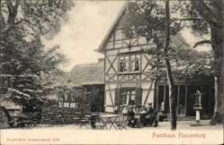 Ak Ilsenburg am Nordharz, Forsthaus Plessenburg, Fachwerk, Besucher