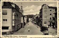 Postcard Schwandorf im Oberpfälzer Wald Bayern, Straßenpartie, Geschäfte, Kirchturm