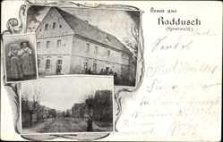 Ak Raddusch Vetuschen Spreewald, Gasthof, Inh. E. Poetsch, Trachten, Gebäude