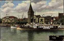 Künstler Ak Lindau im Bodensee Schwaben, Hafenpartie mit dem alten Leuchtturm