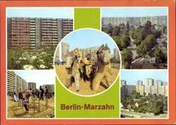 Ak Berlin Marzahn, Hochhäuser, Spielplatz, Kelttergerüst, Wohnsiedlung