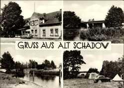 Ak Alt Schadow Märkische Heide, Brücke, Campingplatz, Gasthaus