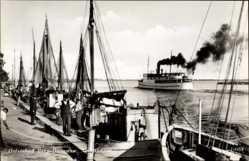 Ak Berg Dievenow Pommern, Partie am Bodden, Fischerboote, Dampfer Wollin