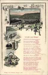 Lied Ak Bingen am Rhein, Totalansicht, 's Lob vun Binge', Nonne, Kobell