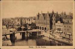Ak Gdańsk Danzig, Partie an der Mottlau, Brücke, Stengel