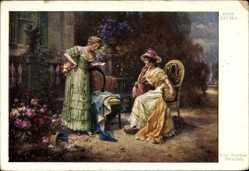 Künstler Ak Zatzka, Hans, Eine freudige Botschaft, zwei elegante Damen
