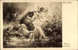 Künstler Ak Zatzka, Hans, Blumen Erwachen, Tauben, Engel, Frauen