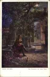 Künstler Ak Zatzka, Hans, Am Brunnen vor dem Tore, sitzender Mann