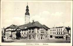 Postcard Grünberg in Schlesien, Blick auf das Rathaus am Marktplatz