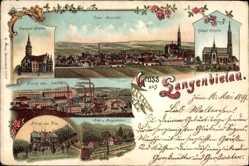 Litho Bielawa Langenbielau Schlesien, Dierig'sche Fabrik, Bergschloss