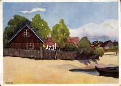 Künstler Ak Nolcken, Ostpreußen, Fischerhäuser auf der Nehrung, Memelland