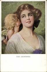 Künstler Ak M. Munk, Das Geheimnis, Cupid, Amor, 1089
