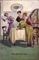Künstler Ak Kuderna, Franz, Ein Brief von ihm, Junge Frauen, Munk 1069