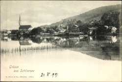Postcard Schliersee im Kreis Miesbach Oberbayern, See. Schilf, Kirche