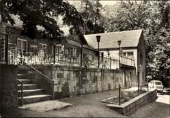 Postcard Wettin Löbejün im Saalekreis, Konsum Gaststätte Jagdhütte, Trabi