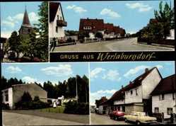 Postcard Werlaburgdorf Schladen Werla in Niedersachsen, Bäckerei O. Schrader, Kirche