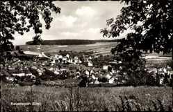 Postcard Kaiseresch Eifel, Totalansicht der Ortschaft, Felder, Wald, Kirchturm