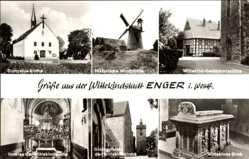 Postcard Enger im Kreis Herford, Dionysius Kirche, Wittekind Gedächtniskirche