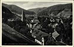 Postcard Zell im Wiesental Kreis Lörrach Baden Württemberg, Totalansicht, Ort, Kirche