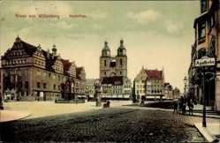 Ak Lutherstadt Wittenberg in Sachsen Anhalt, Marktplatz, Apotheke, Rathaus