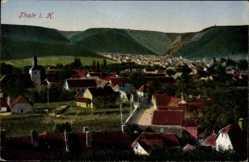 Postcard Thale im Harz, Blick auf den Ort, Kirche, Häuser
