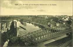 Postcard Halle an der Saale, Blick von der Burgruine Giebichenstein in das Saaletal