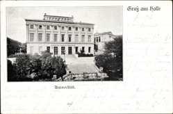Postcard Halle an der Saale, Blick von außen auf die Universität