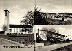 Postcard Herschbach Ober Westerwald, Totalansicht, Kirche, Stadthaus