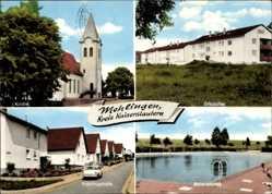 Postcard Mehlingen Landkreis Kaiserslautern, Kirche, Frühlingstraße, Schwimmbad