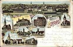 Litho Herford in Nordrhein Westfalen, Postamt, Kirche, Denkmal, Gymnasium