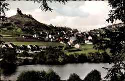 Postcard Flossenbürg Oberpfalz, Totalansicht der Stadt, Fluss, Burgruine