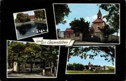 Postcard Gevensleben Niedersachsen, Kirche, Geschäft, Wasserpartie