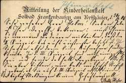 Postcard Bad Frankenhausen im Kyffhäuserkreis, Kinderheilanstalt, Mitteilung