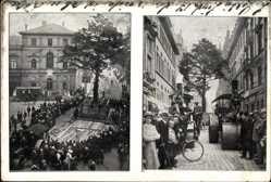 Postcard Frankfurt Main, Transport des 300jh. Eibenbaumes, Botanischer Garten 1907