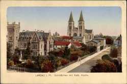 Postcard Landau an der Isar in Niederbayern, Schlösschen mit Kath. Kirche