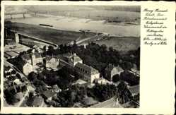 Ak Barby Elbe, Herzog Heinrich Schule, Blindenanstalt, Wasserwerk, Fliegerfoto