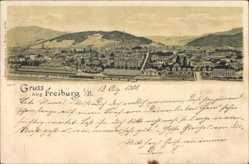 Litho Freiburg im Breisgau Baden Württemberg, Totalansicht der Ortschaft