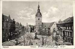 Postcard Detmold in Nordrhein Westfalen, Blick auf den Marktplatz, Kirche, Brunnen