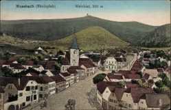 Künstler Ak Mussbach Neustadt an der Weinstraße, Weinbiet, Ort, Kirchturm