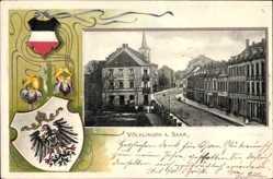 Präge Wappen Ak Völklingen im Saarland, Straßenpartie