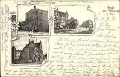Postcard Völklingen im Saarland, Hotel Kaiserhof, Wilhelmstraße, Amtsgericht,Gefängnis