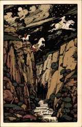 Steindruck Ak Thale, Roßtrappensprung, Sage von der Roßtrappe