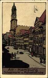 Steindruck Ak Hamburg, Schaarmarkt mit Michaeliskirche, Turmuhr