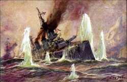 Künstler Ak Stöwer, Willy, Seegefecht, Nordsee, 24 Januar 1915, Schlachtkreuzer