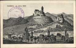 Künstler Ak Nassau Frauenstein im Erzgebirge, Ort im Jahre 1600