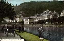 Postcard Bad Ems im Rhein Lahn Kreis, Lahnpartie mit Kurhaus, Anglerin, Esel